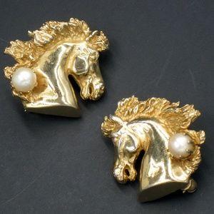 Vintage Horse Head Genuine Pearl Scatter Pins